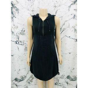 Ecru Sleeveless Hoodie Half Zip Midi Dress Black